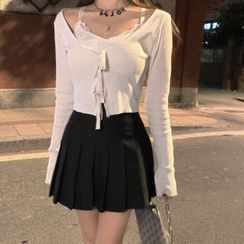 MAVE - Lace-Up Cardigan / Pleated A-Line Skirt