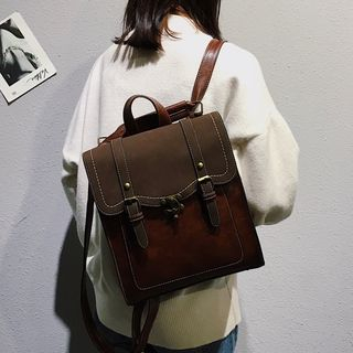 MUSA - Faux Leather Buckle Backpack