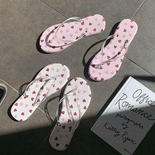 ZORI - Heart Print Flip Flops