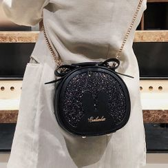 Santaka - Glitter Faux Leather Round Crossbody Bag
