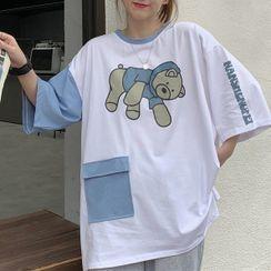 Florabbie - Elbow-Sleeve Bear Print T-Shirt