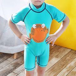 Aqua Wave - 小童短袖河豚魚印花潛水服