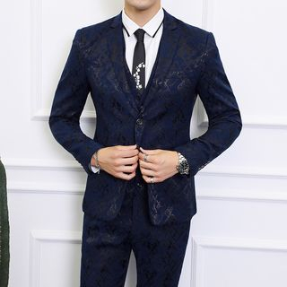 Besto - Set: Button-Up Blazer + Dress Pants + Vest