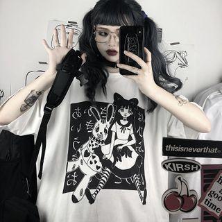 BlossomBunny - Cartoon Print Elbow-Sleeve T-Shirt