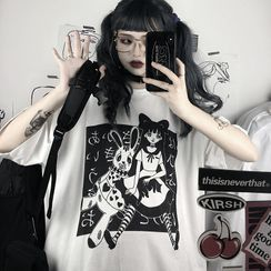 BlossomBunny - Cartoon Print Elbow-Sleeve T-Shirt