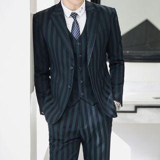 Deepwood - Set: Striped Blazer + Dress Vest + Dress Pants