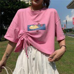 Honey River - Printed Drawstring Short-Sleeve T-Shirt