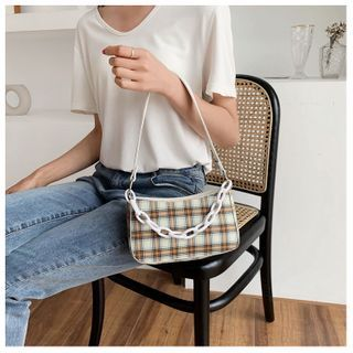 Fema - Chain Plaid Zip Handbag