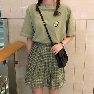 Dute - 水果刺繡T裇 / 格子打褶襉迷你裙
