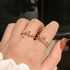 Ticoo - Set of 2: Rhinestone Flower Rings
