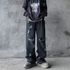 2DAWGS(2ドーグス) - Distressed Wide Leg Jeans