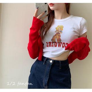 Gilmort - 纯色短款针织衫 / 短袖卡通印花图案T恤