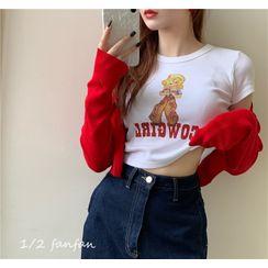 Gilmort - 纯色短款针织衫 + 短袖卡通印花图案T恤