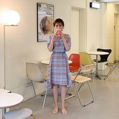 CHERRYKOKO - Puff-Sleeve Plaid Dress & Sash