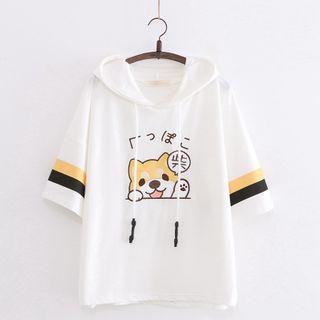 Cat Planet - Dog Print Hooded Short-Sleeve T-Shirt