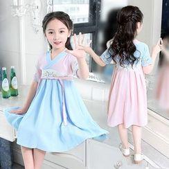 SEE SAW - Kids Embroidered Short-Sleeve Hanfu Dress