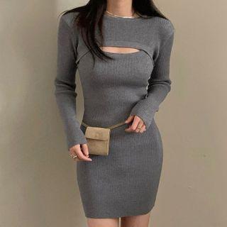 Sukol - 套装: 长袖针织上衣 + 细肩带迷你塑身连衣裙