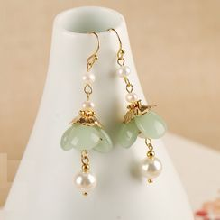 Kanzashi - Retro Faux Pearl Flower Dangle Earring
