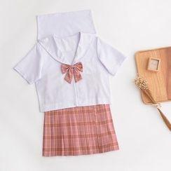 Aiyiruo - Short-Sleeve Sailor Shirt / Pleated Plaid Skirt / Set: Short-Sleeve Sailor Shirt + Pleated Plaid Skirt