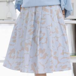 Lemite - Patterned Midi Pleated Skirt