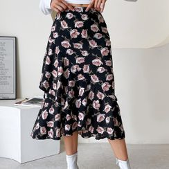 blossomgal - Floral Print High-Waist Midi A-Line Skirt