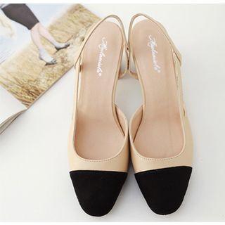 Niuna - Chaussures à talons carrés Slingback en cuir veritable deux tons