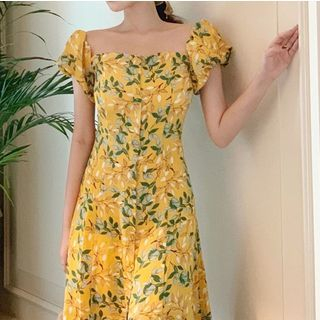 Windflower - Printed Puff-Sleeve A-Line Dress