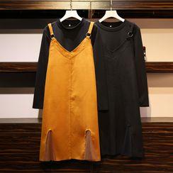 Sugar Town - Set: Long-Sleeve Mock-Neck T-Shirt + Denim Jumper Dress