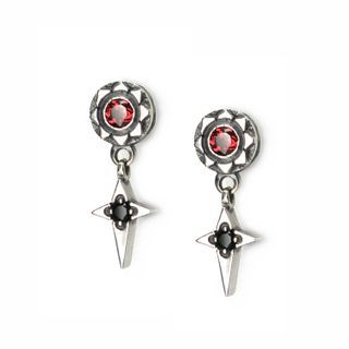 Sterlingworth - Engraved Sterling Silver Cross Earring - Garnet (Single)