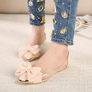 Niuna - 尖头蝴蝶结装饰透明拼接平跟鞋