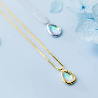 A'ROCH - 925 Sterling Silver Glass Droplet Pendant Necklace