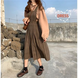 Rerise - Bishop-Sleeve Blouse / Pleat Plaid Pinafore Dress