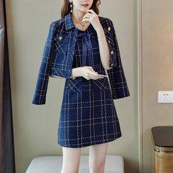 Dimanche - Set: Tweed Plaid Cropped Blazer + Plaid Bow A-Line Tank Dress