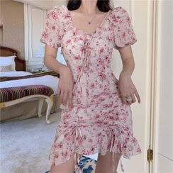 NENE - Short-Sleeve Floral Print Mini A-Line Dress