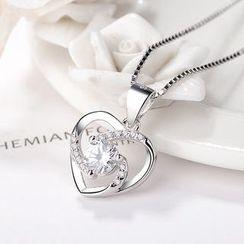 JZ Concept - Silver Rhinestone Heart Pendant Necklace