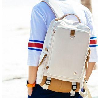 Asphalt - Faux-Leather Panel Backpack