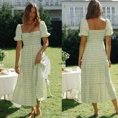 Ferola - Short-Sleeve Plaid Midi A-Line Dress