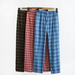 Hollahop(ホーラホップ) - Plaid Straight-Fit Pants