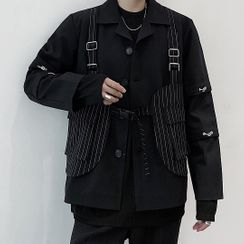 Bjorn - 假两件条纹拼接西装外套