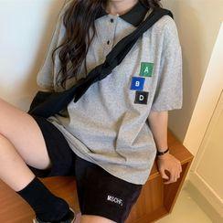 Iduna - 字母貼布繡短袖馬球衫