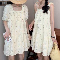 Moon City - Short-Sleeve Flower Print Mini Shift Dress / Spaghetti Strap Mini Dress