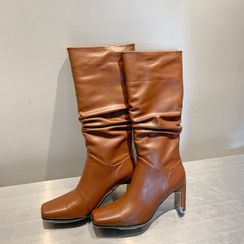 DEEPNY - Square-Toe Block-Heel Tall Boots