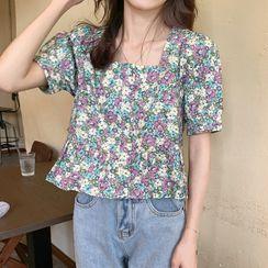Fabricino - 碎花短袖荷叶腰衬衫