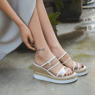 锦洋鞋业 - 真皮透明带麻底船跟厚底凉鞋