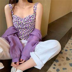OUREA - 纯色长袖衬衫 / 碎花短款吊带背心