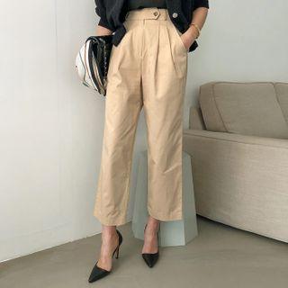 DABAGIRL - Semi Wide-Leg Cotton Pants