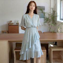 NAIN - V-Neck Ruffled Midi Floral Dress