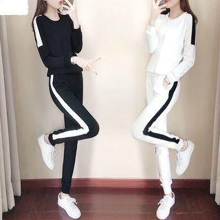 Carmenta - Set: Long-Sleeve Contrast Trim T-Shirt + Harem Pants