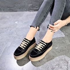 Wello - Platform Hidden-Wedge Lace-Up Shoes