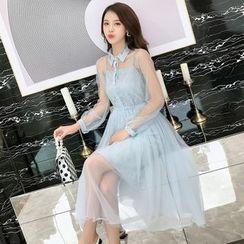 JUNNIM - Set: Long-Sleeve Midi Mesh A-Line Dress + Spaghetti Strap Mini Lace Dress